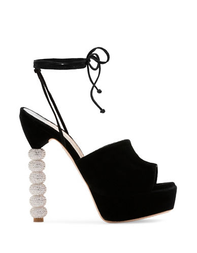 Sophia Webster Natalia Black Velvet Platform Sandals-BLACK-EUR 37/US 7