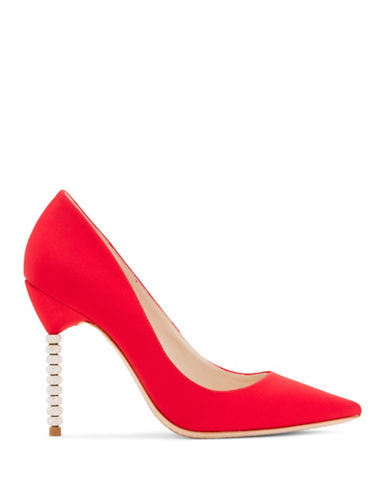 Sophia Webster Coco Crystal Beaded Heel Satin Pumps-RED-EUR 38.5/US 8.5