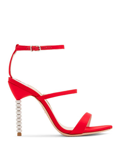 Sophia Webster Rosalind Crystal Beaded Heel Satin Sandals-RED-EUR 39/US 9