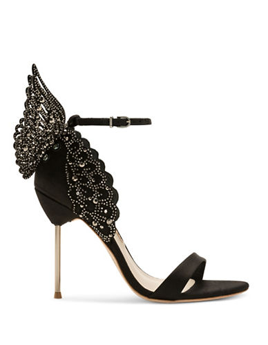 Sophia Webster Evangeline Crystal and Laser-Cut Wing Sandals-BLACK-EUR 37.5/US 7.5