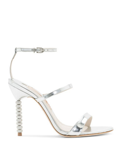 Sophia Webster Rosalind Crystal Beaded Heel Metallic Calf Leather Sandals-SILVER-EUR 38.5/US 8.5
