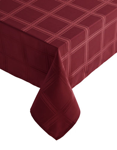 Distinctly Home Bennet 60x84 Paid Spill-Proof Tablecloth-RED-One Size