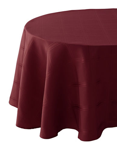 Distinctly Home Bennet 70in Round Plaid Spill-Proof Tablecloth-RED-One Size