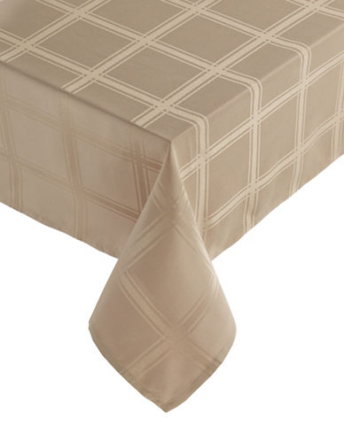 Distinctly Home Bennet 70x144 Paid Spill-Proof Tablecloth-TAUPE-One Size