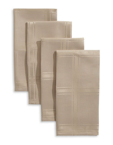 Distinctly Home Bennet Plaid Four-Piece Napkin Set-TAUPE-One Size