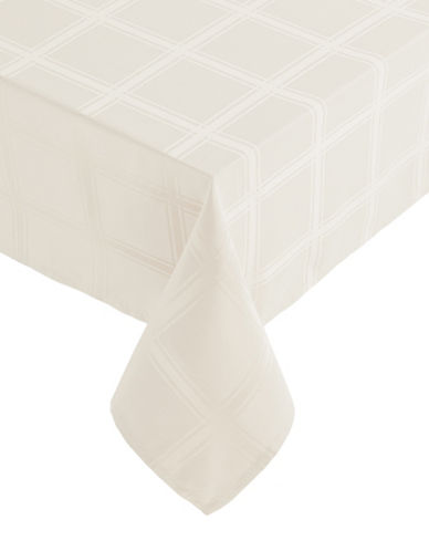 Distinctly Home Bennet 60x102 Paid Spill-Proof Tablecloth-IVORY-60x102