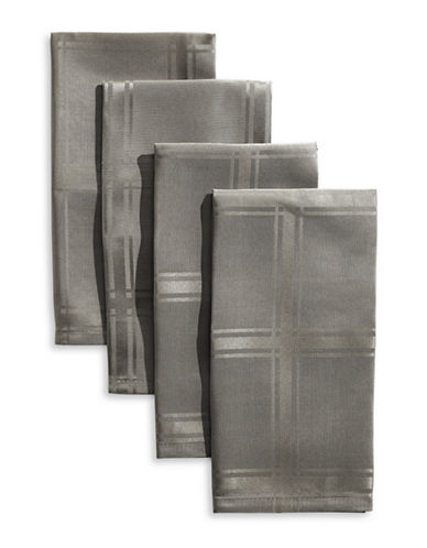 Distinctly Home Bennet Four-Piece Plaid Spill-Proof Napkin Set-GREY-One Size
