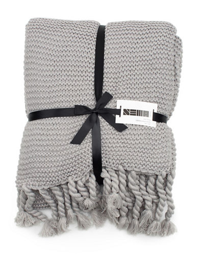 Nema Home Knit Fringed Throw-GREY-One Size