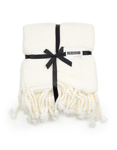 Nema Home Knit Fringed Throw-WHITE-One Size