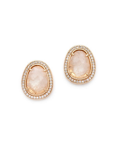 Melanie Auld Moonstone and Cubic Zirconia 14K Goldplated Stud Earrings-GOLD-One Size