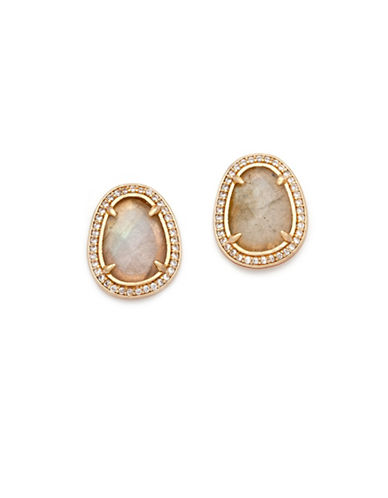 Melanie Auld Labradorite and Cubic Zirconia 14K Goldplated Stud Earrings-GOLD-One Size