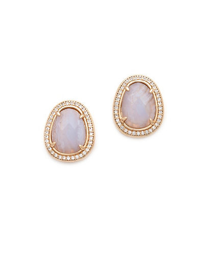 Melanie Auld Cubic Zirconia and Agate 14K Goldplated Oversized Stud Earrings-GOLD-One Size