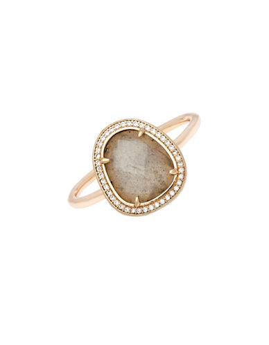 Melanie Auld Labradorite, Cubic Zirconia and 14K Goldplated Slice Ring-GOLD-One Size
