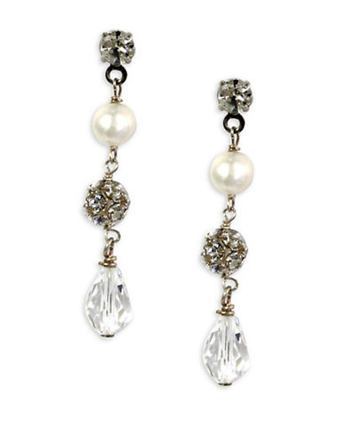 Ti Adoro Crystal and Freshwater Pearl Teardrop Earrings-SILVER/PEARL-One Size