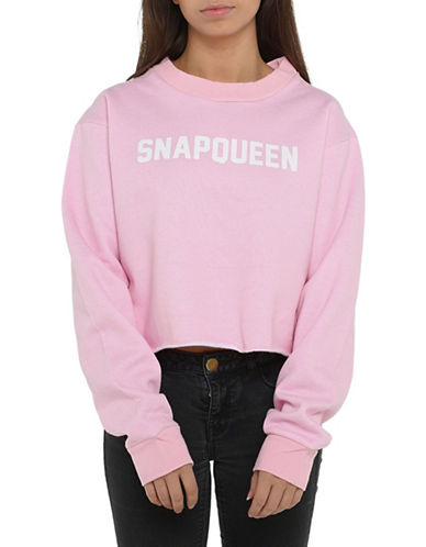 Adolescent Clothing SnapQueen Crop Sweatshirt-PINK-Medium