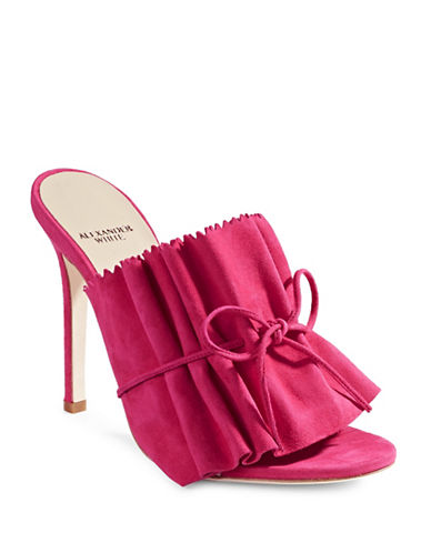 Alexander White Suede Stiletto Mules-RASBERRY-EUR 37.5/US 7.5