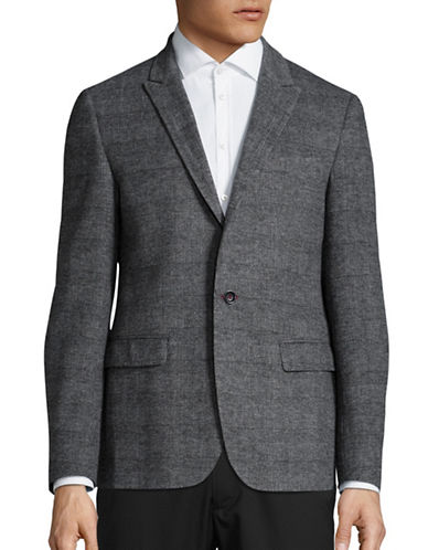 Haight And Ashbury Roxbury Classic-Fit Wool-Blend Plaid Blazer-GREY-44 Regular