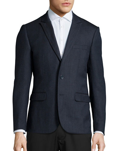 Haight And Ashbury Roxbury Classic-Fit Wool-Silk Tonal Blazer-NAVY-40 Regular