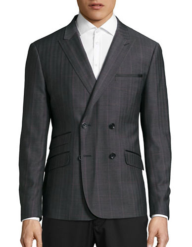 Haight And Ashbury Classic-Fit Double Breasted Highlight Plaid Sports Jacket-GREY-44 Regular