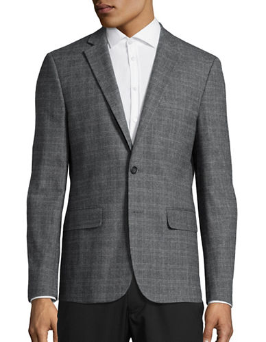 Haight And Ashbury Classic-Fit Brushed Plaid Sports Jacket-GREY-46 Regular