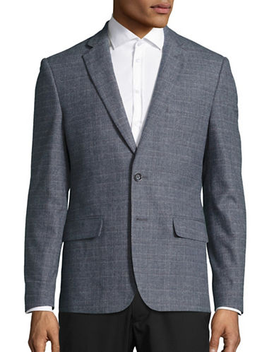Haight And Ashbury Classic-Fit Brushed Plaid Sports Jacket-BLUE-40 Regular