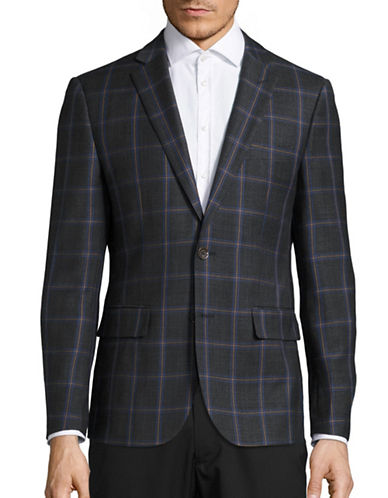 Haight And Ashbury Classic-Fit Northwood Plaid Wool Sports Jacket-CHARCOAL-42 Regular
