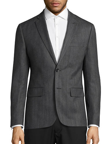 Haight And Ashbury Northwood Modern-Fit Herringbone Wool Suit Jacket-GREY-42 Regular