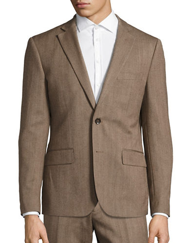 Haight And Ashbury Northwood Modern-Fit Herringbone Wool Suit Jacket-BROWN-38 Regular