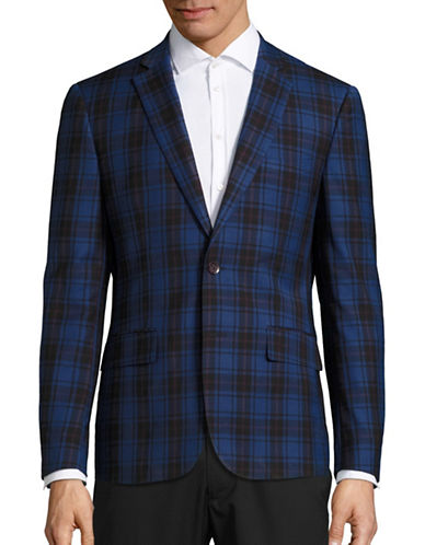 Haight And Ashbury Northwood Modern-Fit Plaid Wool Suit Jacket-BLUE-42 Regular