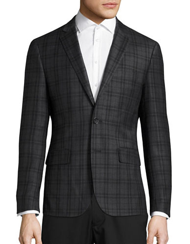 Haight And Ashbury Northwood Modern-Fit Tonal Plaid Wool Suit Jacket-GREY-42 Regular