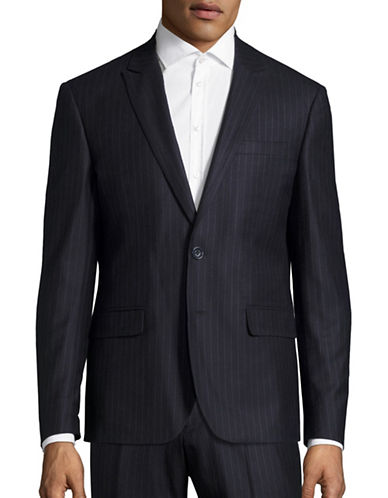 Haight And Ashbury Roxbury Modern-Fit Chalk Stripe Wool Suit Jacket-NAVY-40 Regular