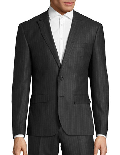 Haight And Ashbury Roxbury Modern-Fit Chalk Stripe Wool Suit Jacket-GREY-44 Regular