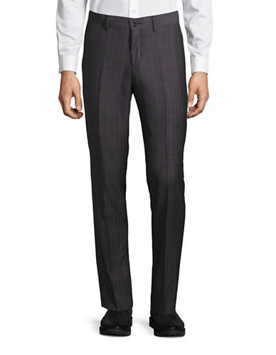 Haight And Ashbury Upton Herringbone-Graph Slim Wool Dress Pants-GREY-28X36