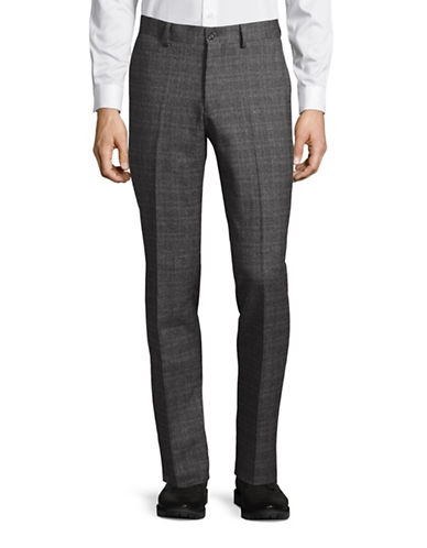 Haight And Ashbury Upton Brushed Plaid Slim Dress Pants-GREY-32X36