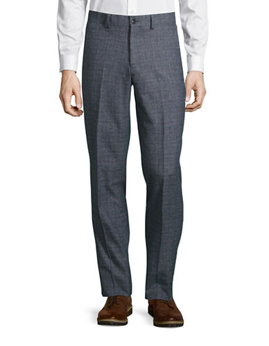 Haight And Ashbury Upton Slim-Fit Brushed Plaid Dress Pants-INDIGO BLUE-38X36