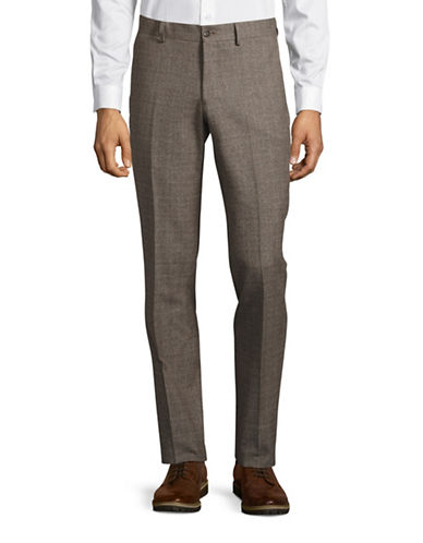 Haight And Ashbury Upton Slim-Fit Brushed Plaid Dress Pants-BROWN-32X36