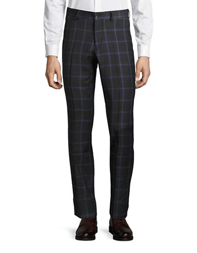 Haight And Ashbury Upton Plaid Slim Wool Dress Pants-GREY-38X36