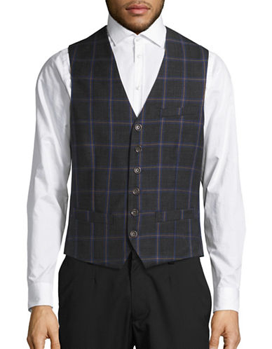 Haight And Ashbury Classic-Fit Wool Bank Plaid Vest-CHARCOAL-Large