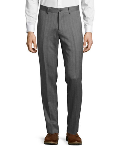 Haight And Ashbury Upton Slim-Fit Wool Herringbone Dress Pants-GREY-34X36