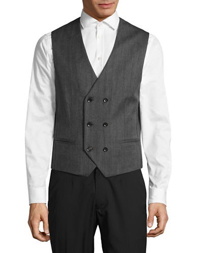 Haight And Ashbury Double-Breasted Herringbone Wool Vest-GREY-Medium