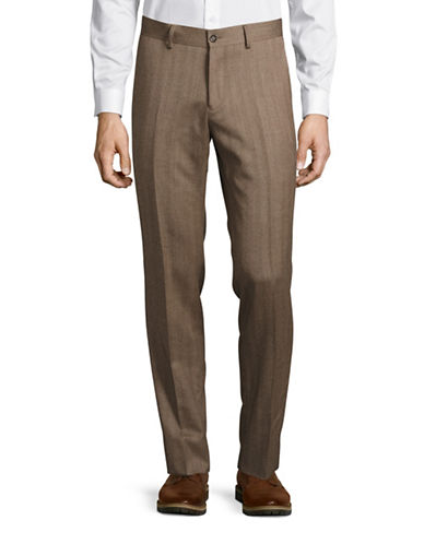 Haight And Ashbury Upton Slim-Fit Wool Herringbone Dress Pants-CAMEL-36X36