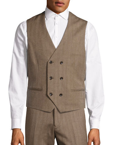 Haight And Ashbury Relaxed-Fit Double-Breasted Herringbone Wool Vest-CAMEL-Medium