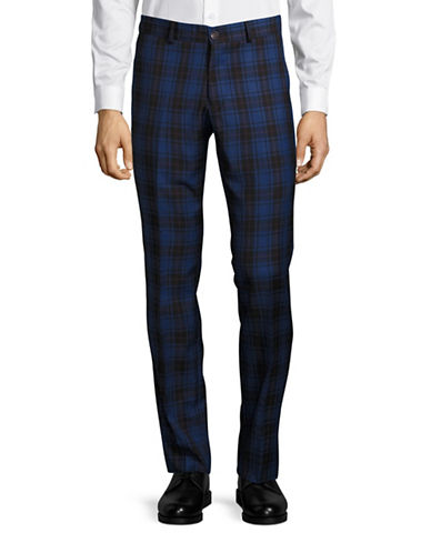 Haight And Ashbury Upton Plaid Slim Wool Dress Pants-BLUE-34X36
