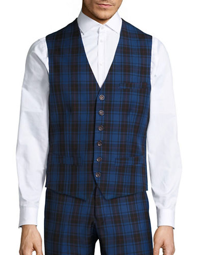 Haight And Ashbury Classic-Fit Wool Bank Plaid Vest-BLUE-Medium