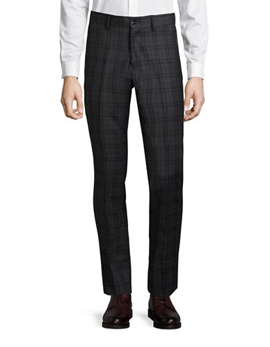 Haight And Ashbury Upton Plaid Slim Wool Dress Pants-GREY-28X36