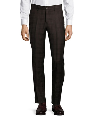 Haight And Ashbury Upton Plaid Slim Wool Dress Pants-BROWN-38X36