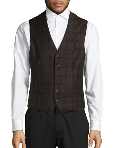 Haight And Ashbury Classic-Fit Wool Bank Plaid Vest-BROWN-X-Small