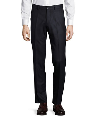 Haight And Ashbury Upton Chalk Stripe Slim Wool Dress Pants-NAVY-38X36