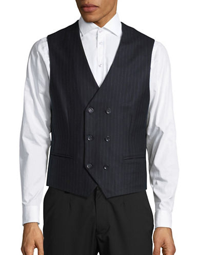 Haight And Ashbury Wool Chalk Stripe Vest-NAVY-Medium