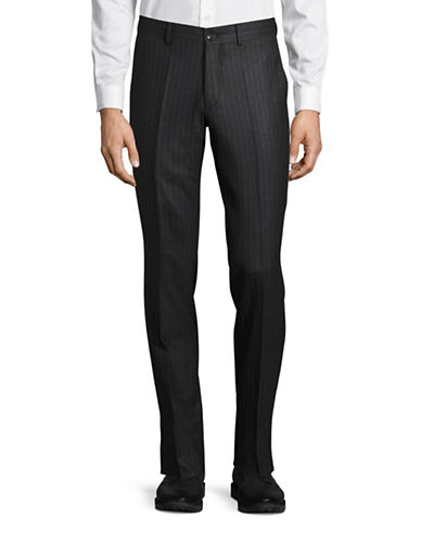 Haight And Ashbury Upton Chalk Stripe Slim Wool Dress Pants-CHARCOAL-34X36